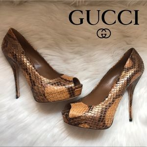 Authentic GUCCI Python Snakeskin Platform Pumps